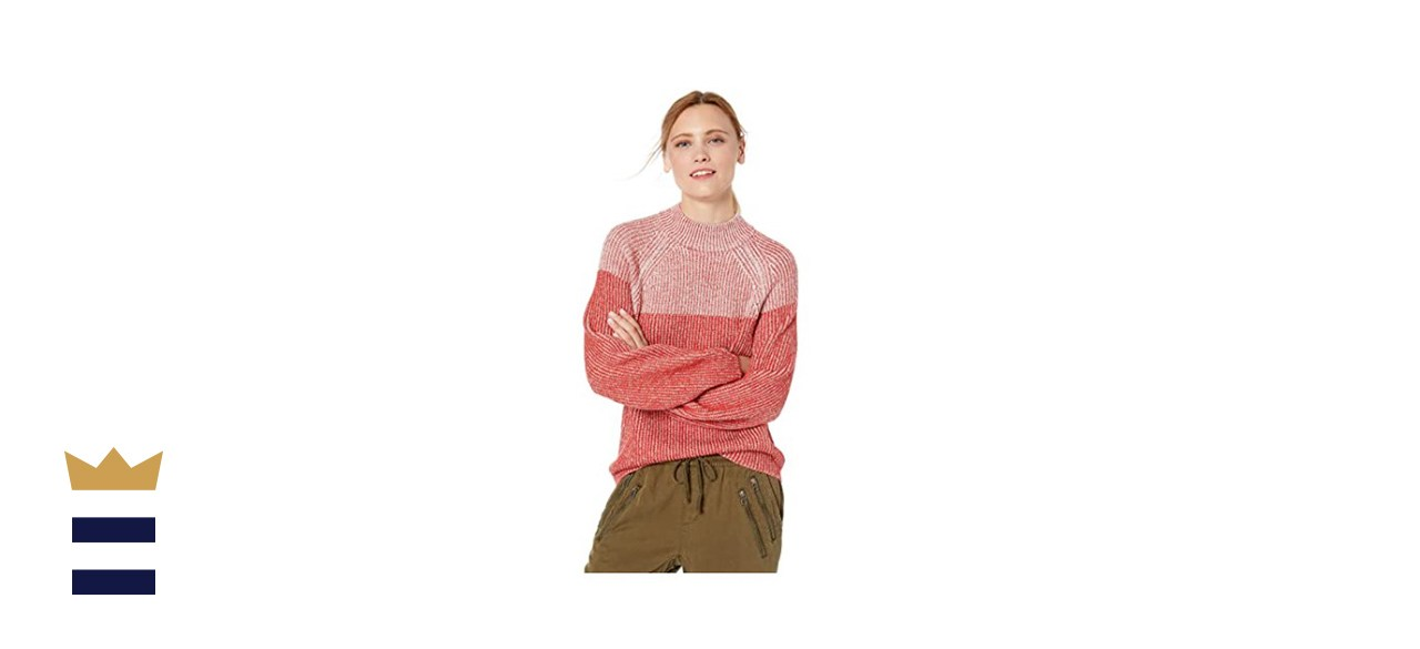 Cable Stitch Two Tone Mock Neck Sweater
