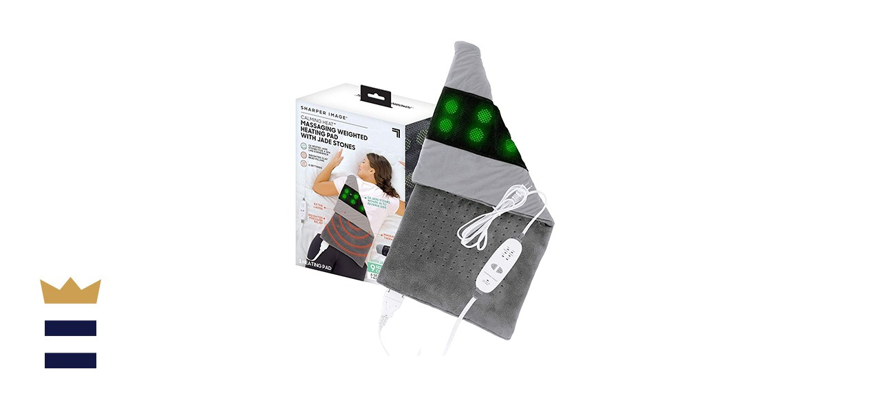 Calming Heat Jade Stone Massaging Weighted Heating Pad by Sharper Image