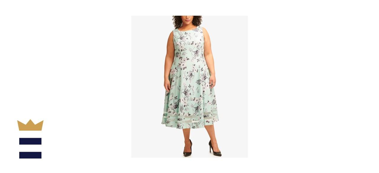 Calvin Klein Plus-Size Floral-Print Illusion-Striped Dress