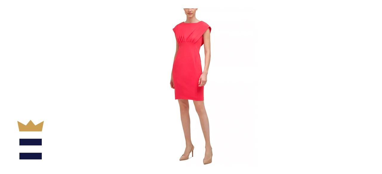 Calvin Klein Solid Capelet Empire-Waist Sheath Dress