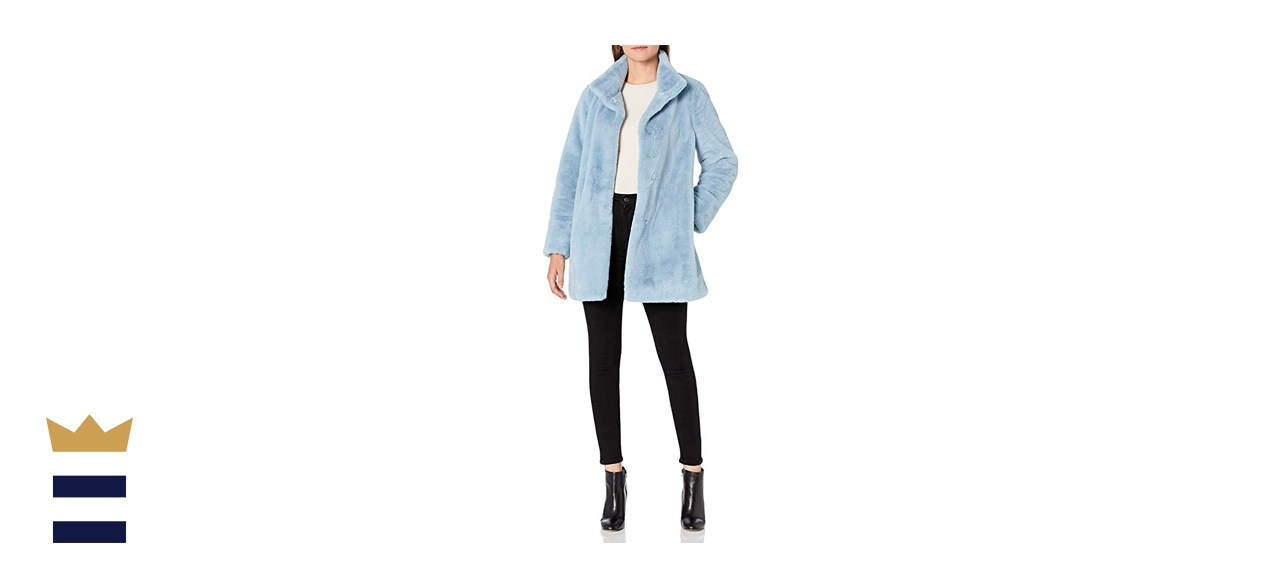Calvin Klein Womens Chevron Faux Fur Coat
