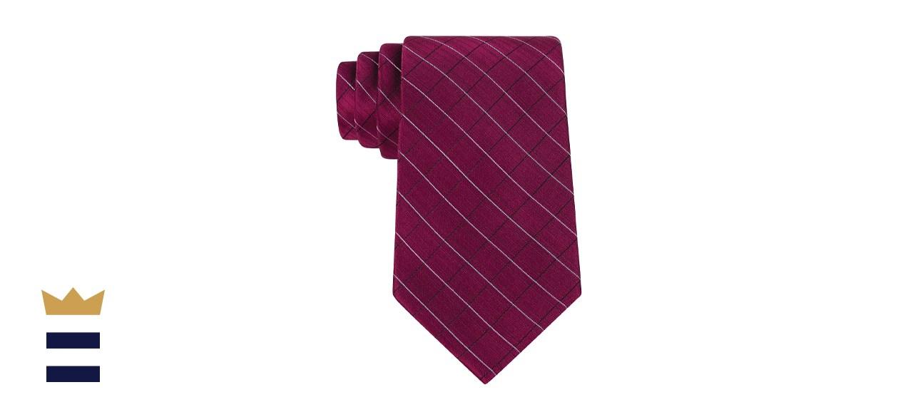 Calvin Klien Etched Large Grid Windowpane Slim Tie