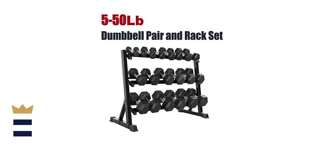 CAP Barbell Rubber Hex Dumbbell Weight Set