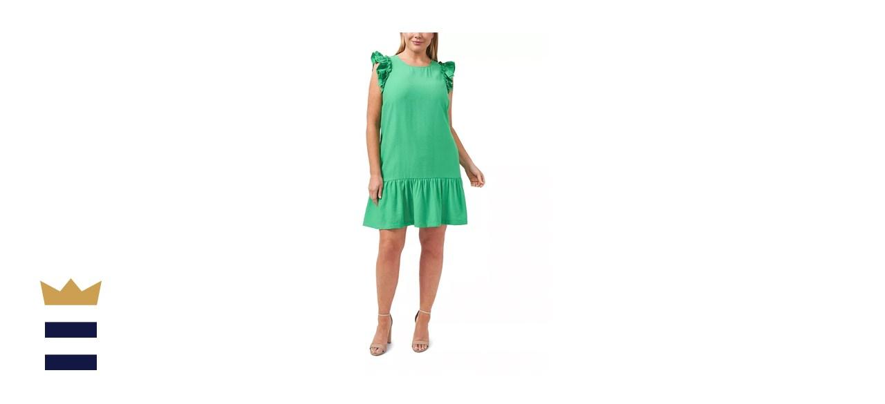 CeCe Plus-Size Flutter Sleeve Ruffled Dress