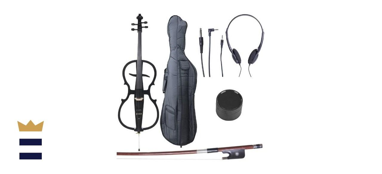 Cecilio 4/4 CECO-1BK Black Metallic Full Size Electric Cello with Ebony Fittings