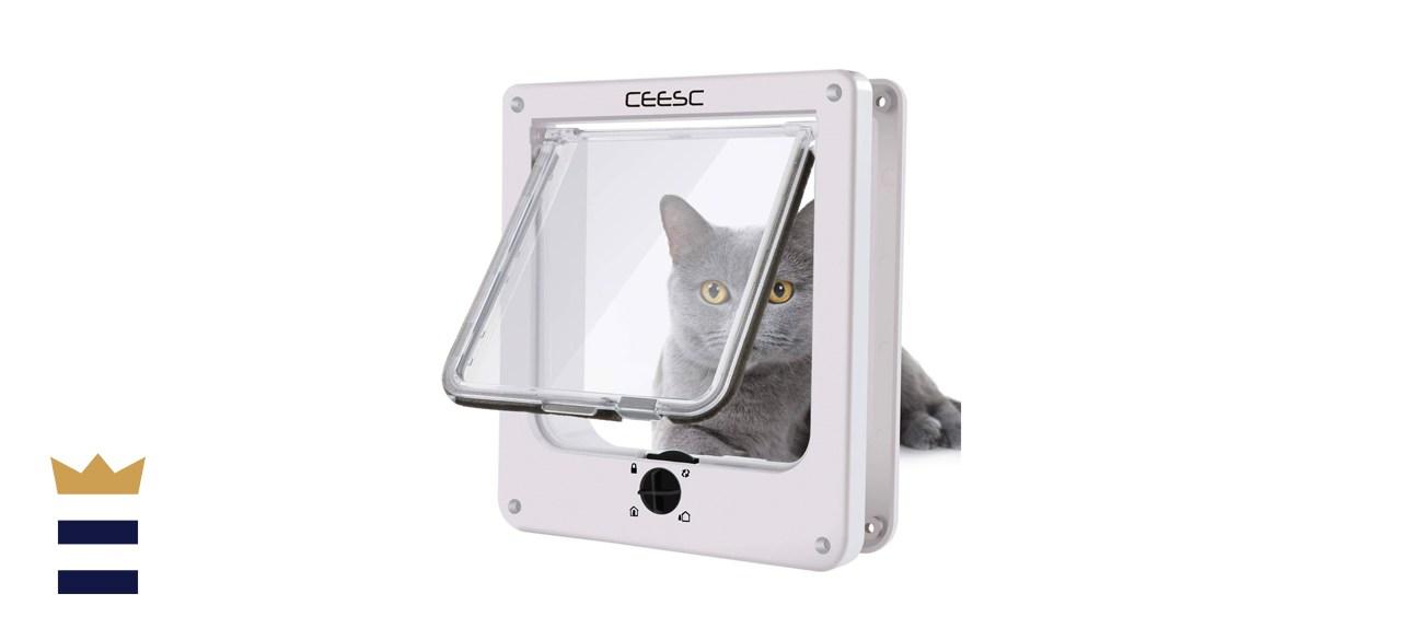 CEESC Magnetic Pet Door with 4-Way Rotary Lock