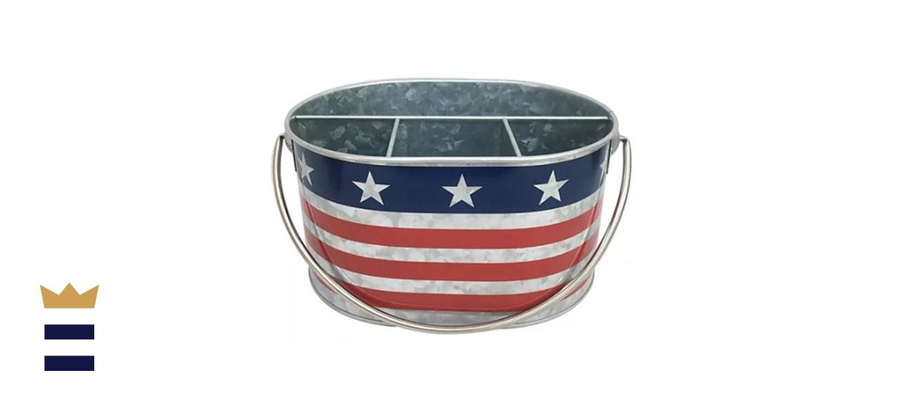 Celebrate Americana Together Galvanized Silverware Caddy