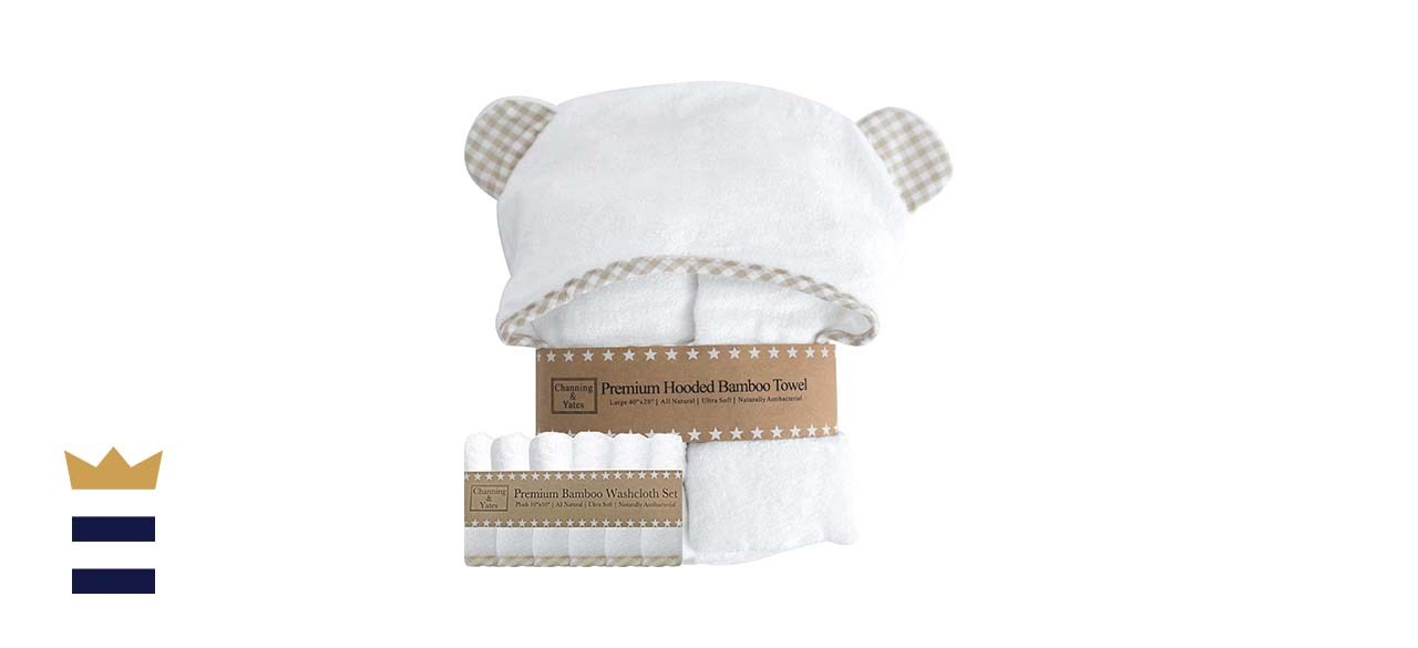 Channing & Yates Premium Hooded Baby Towel and Washcloth Set in Organic Bamboo What you need to know: This adorable hooded bear towel is made from all-natural bamboo.