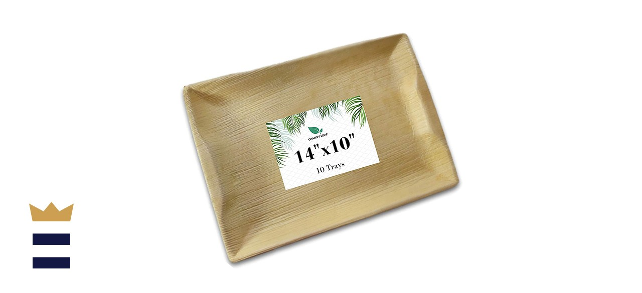 Charity Leaf Disposable Palm Leaf Life Bamboo Serving Trays