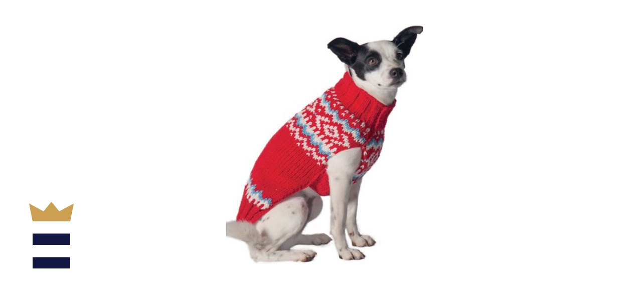 Chilly Dog Red Nordic Wool Dog Sweater
