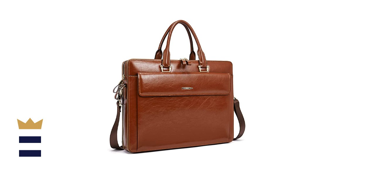 CLUCI Women Oil Wax Leather Briefcase