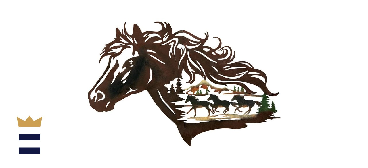 Collections Etc Metal Western Horse Shadow Wall Art