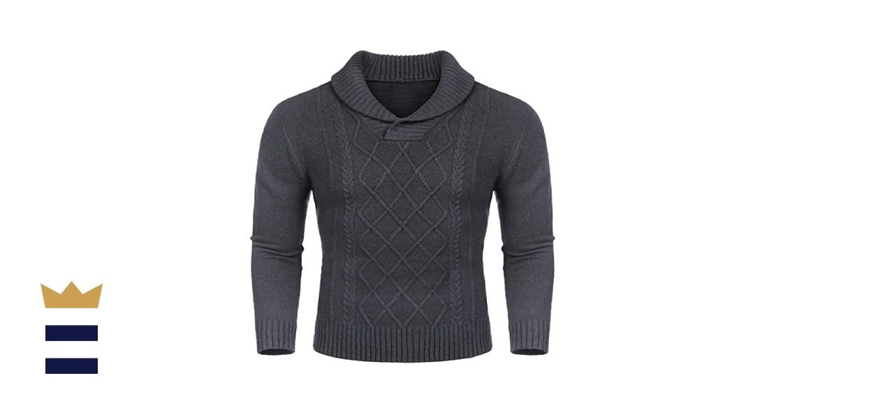 COOFANDY Men's Shawl Collar V-Neck