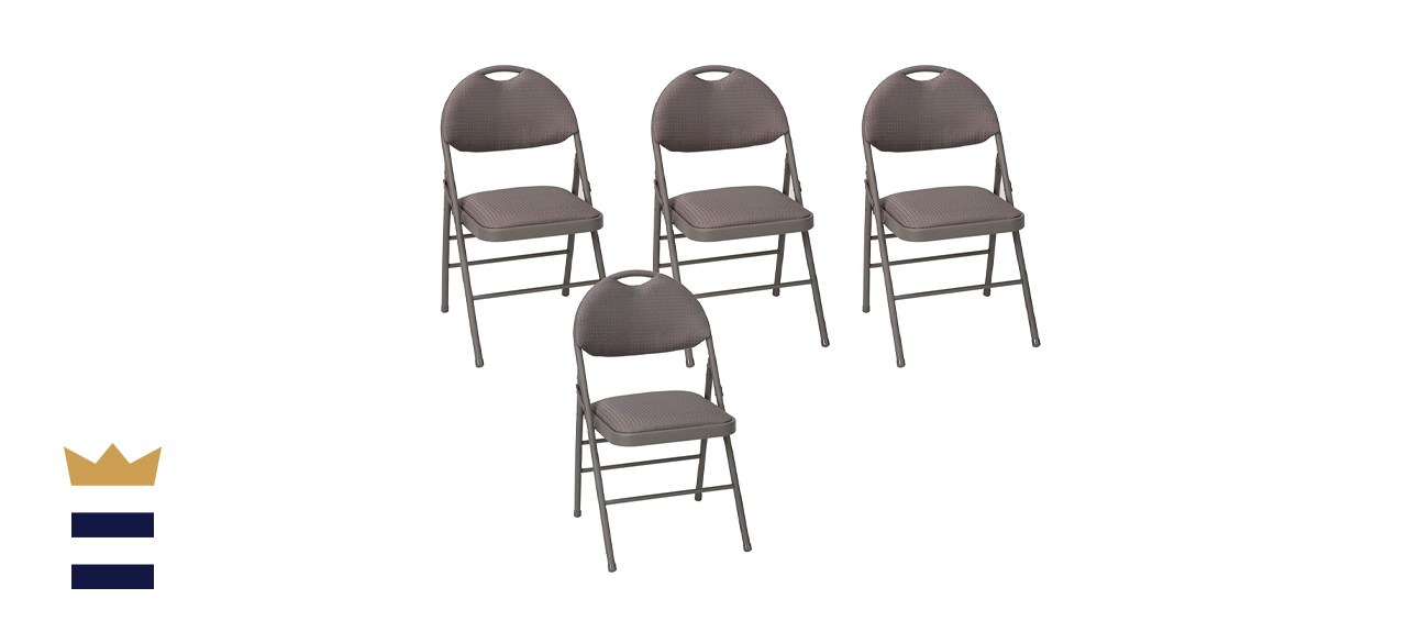 COSCO Commercial Comfort Back Fabric Folding Chairs with Handle Hole