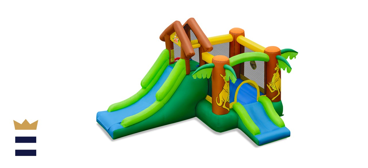 Costway Inflatable Jungle Bounce House Kids Dual Slide Jumping Castle