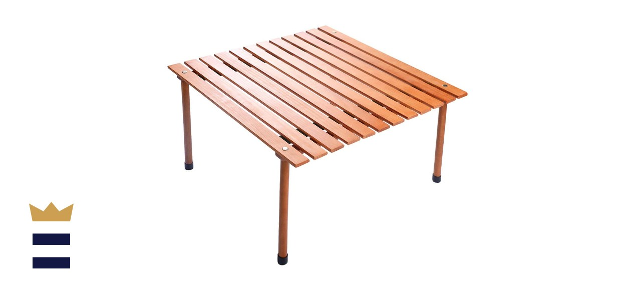 COSTWAY Wood Roll Up Portable Table