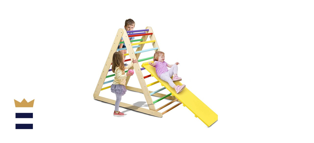 Costzon Foldable Wooden Climbing Triangle Ladder for Sliding & Climbing