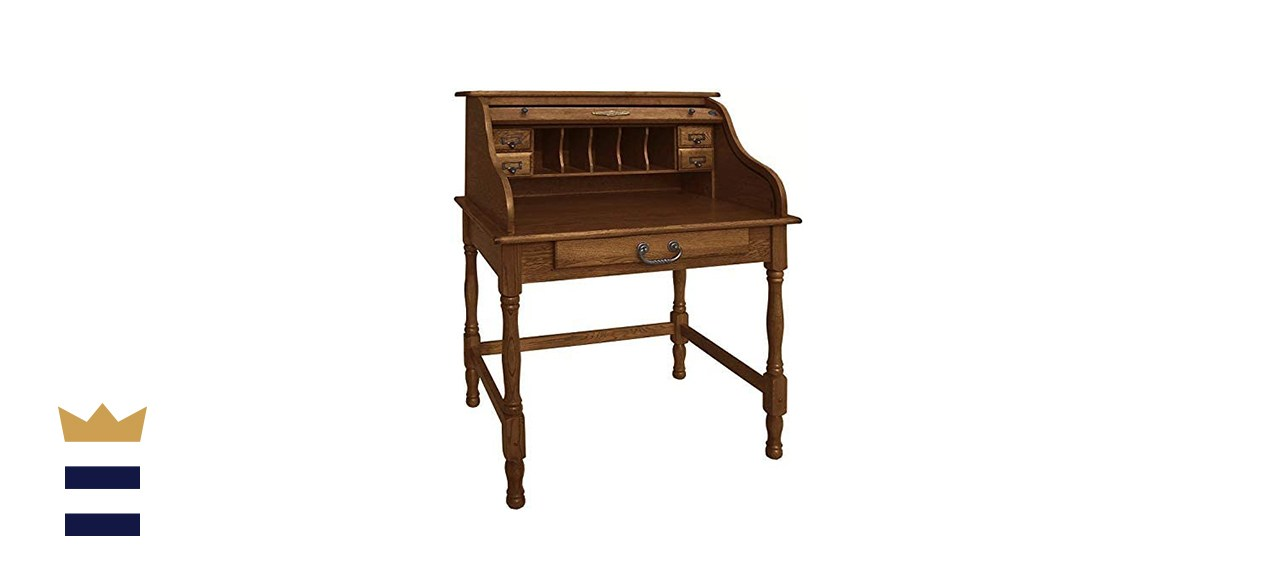 Country Marketplace Mini Roll Top Desk Solid Oak Wood