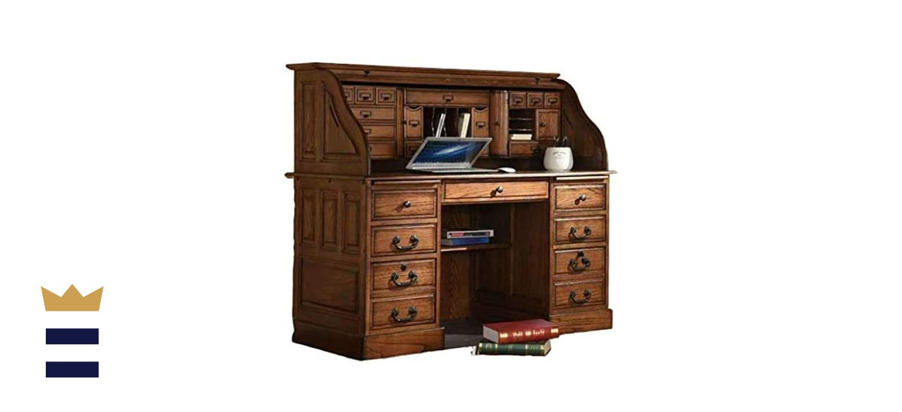 Country Marketplaces Roll Top Desk Solid Oak Wood