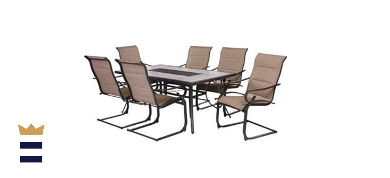 Hampton Bay Crestridge 7-Piece Steel Padded Sling Outdoor Patio Dining Set