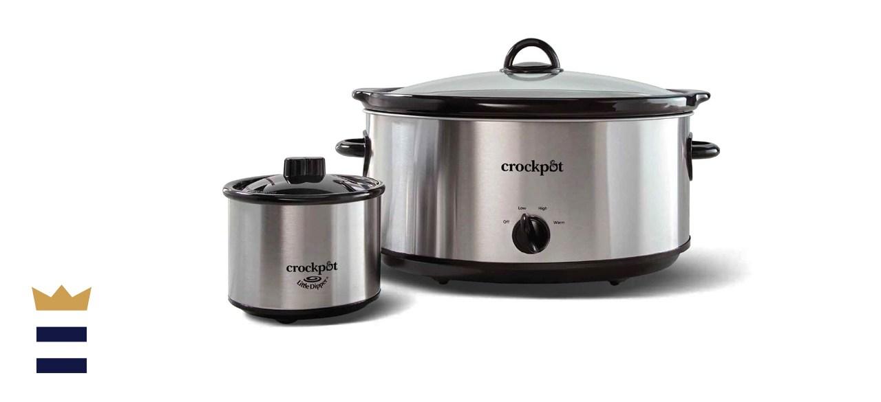 Crock-Pot 8-Quart Manual Slow Cooker with 16 Oz Little Dipper Food Warmer