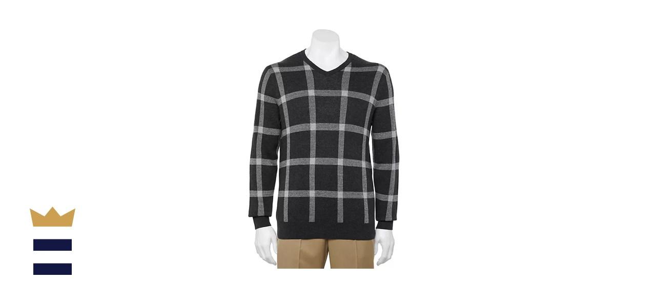Croft & Barrow Regular-Fit Patterned Easy-Care V-neck Sweater