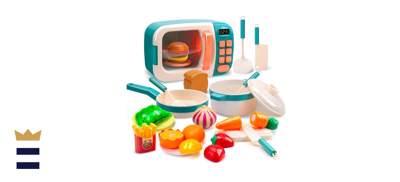 Cute Stone Microwave Pretend Play Electronic Oven with Play Food