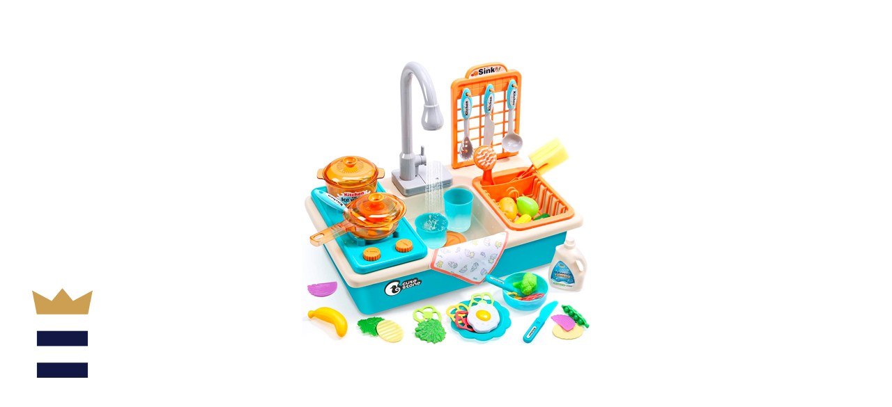 CUTE STONE Play Kitchen Sink Toy with Upgraded Real Faucet