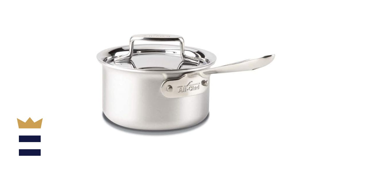 All-Clad D5 Brushed 18/10 Stainless Steel 5-Ply Bonded Dishwasher Safe Sauce Pan