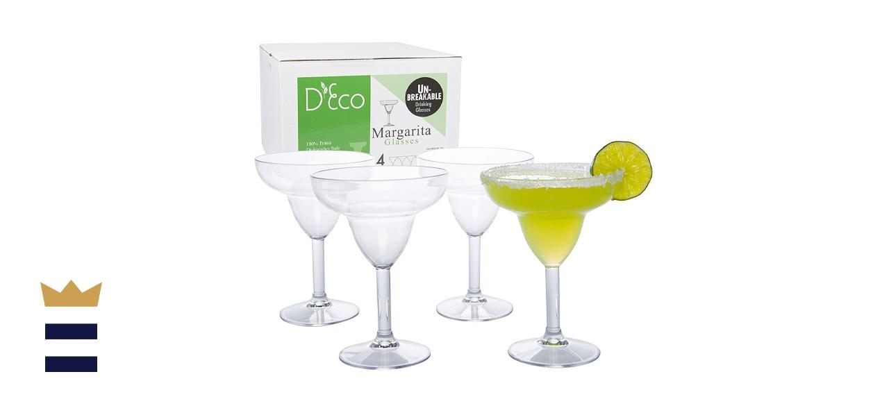 Deco Unbreakable Stemmed Margarita Glasses
