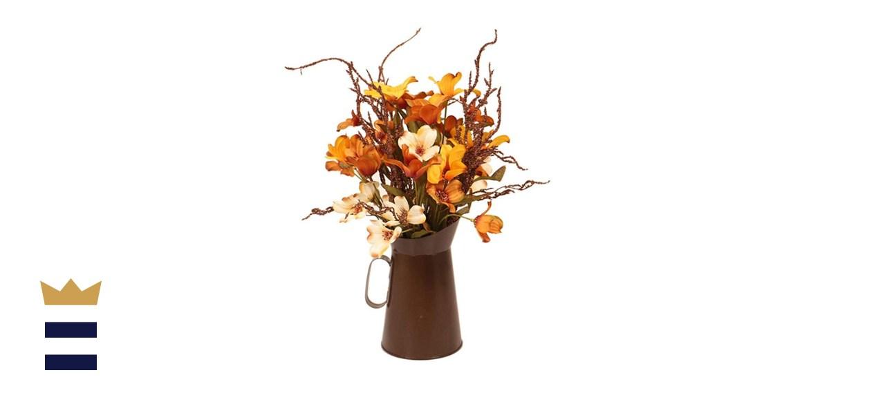 Devalo Decorative Fall Floral Arrangement Bouquet in Vase
