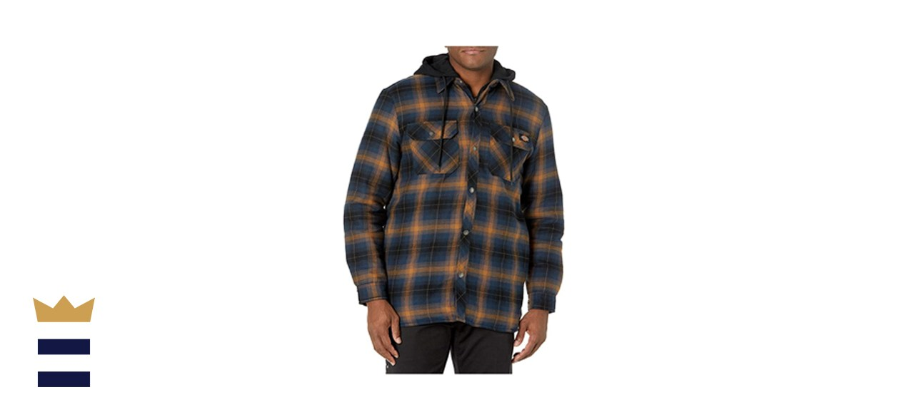 Dickies Relaxed Fleece Hooded Flannel Shirt Jacket
