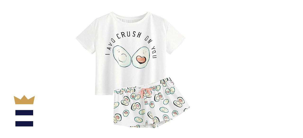 DIDK Women's Cute Cartoon Print Tee and Shorts Pajama Set
