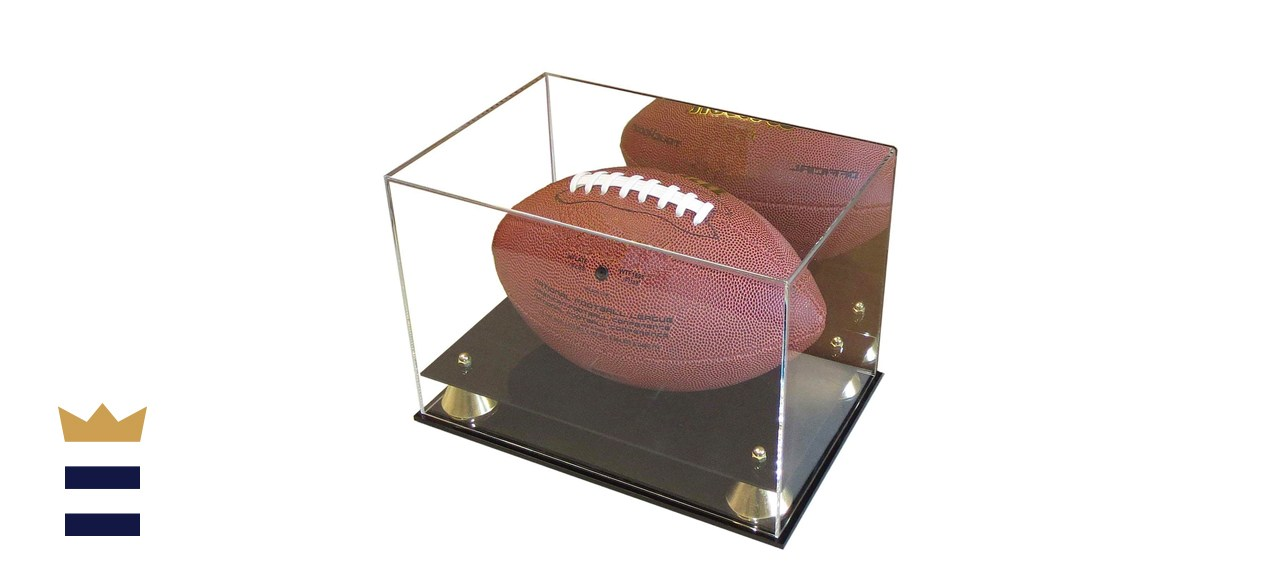 DisplayGifts Deluxe UV Acrylic Full Size Football Display Case