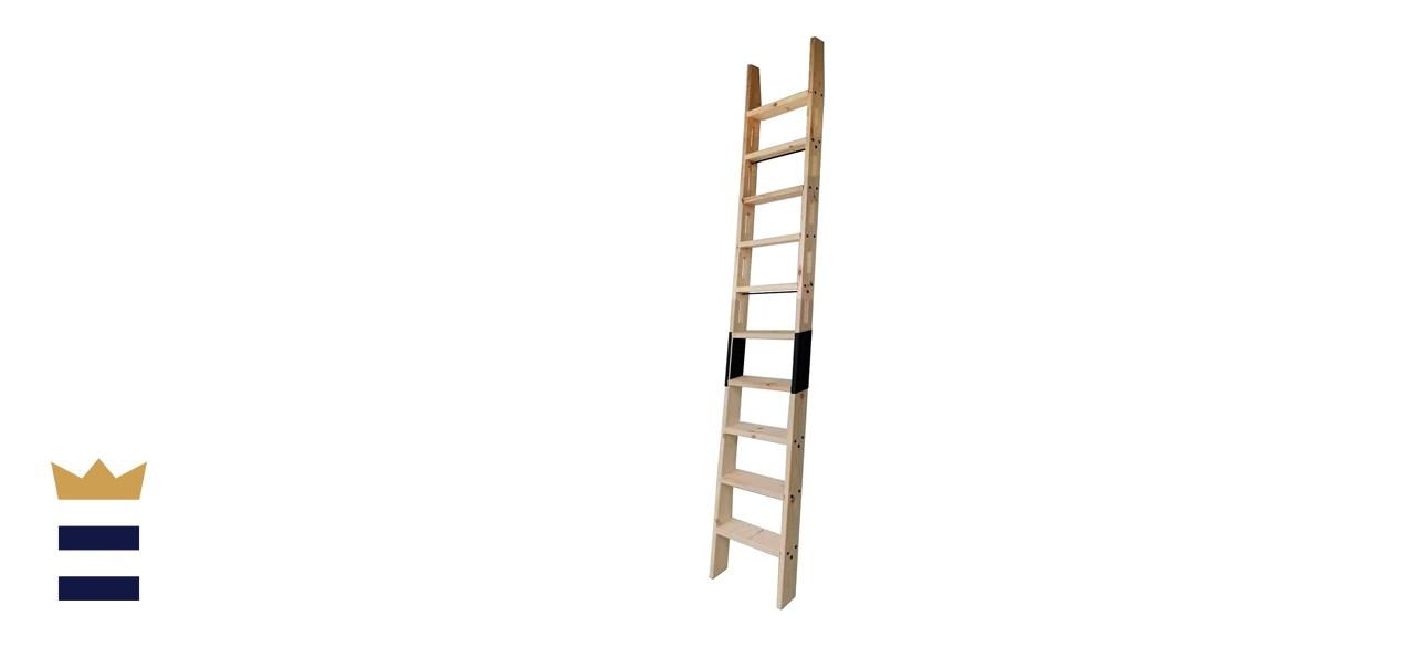 DIYHD Knotty Pine Wood Sliding Library Ladder