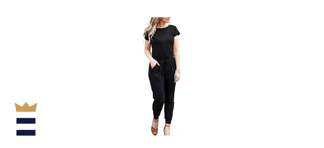 DouBCQ Casual Short Sleeve Jumpsuit with Pockets