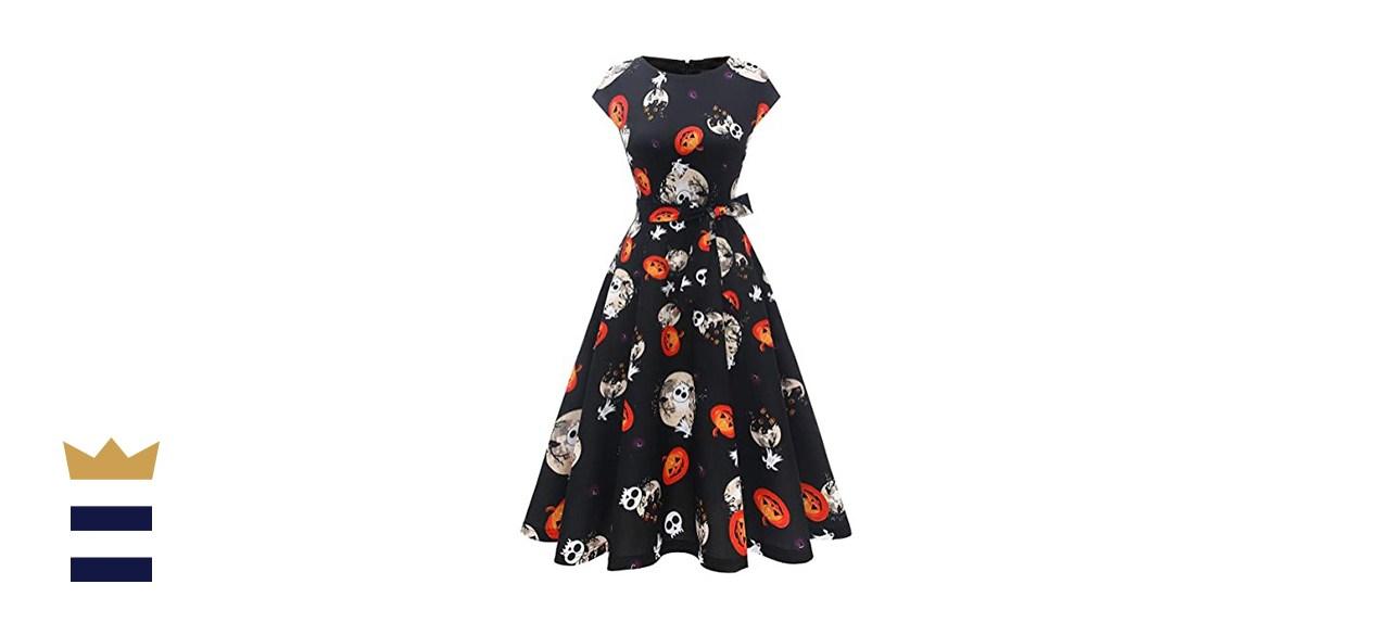 Dress Tells Halloween Vintage A-line Midi Party Dress