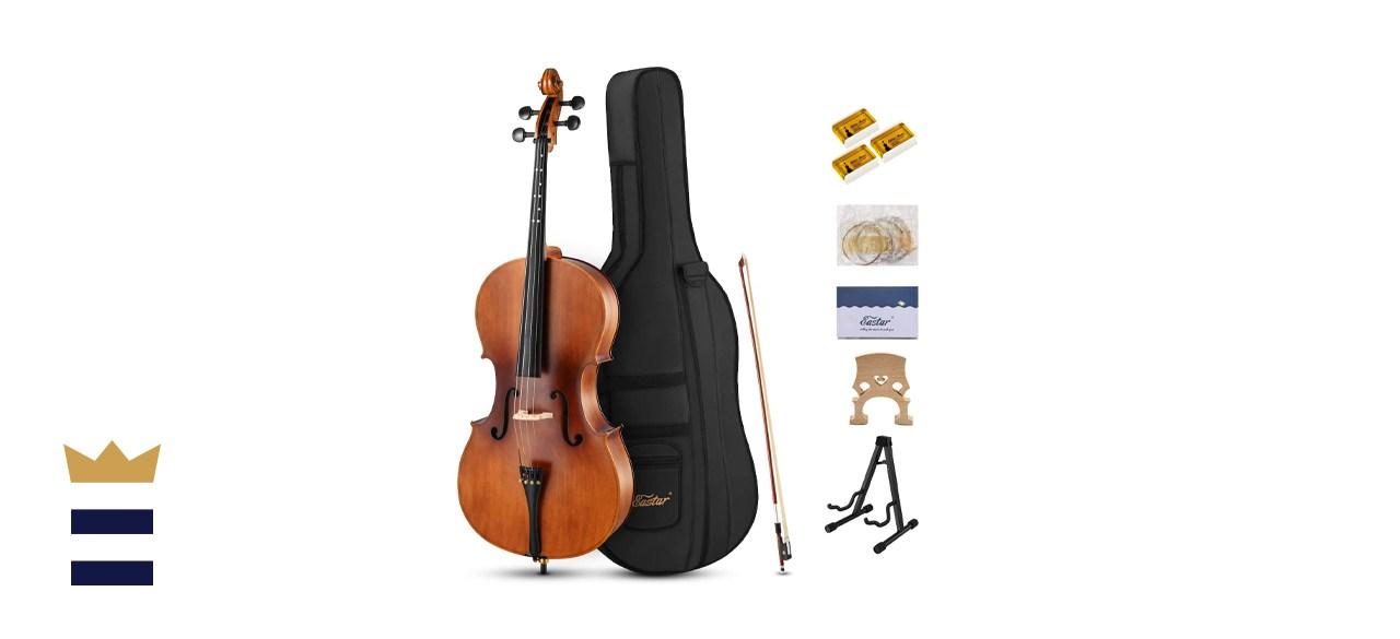 Eastar EVC-1 4/4 Acoustic Spruce Top Maple Back Full Size Cello Bundle