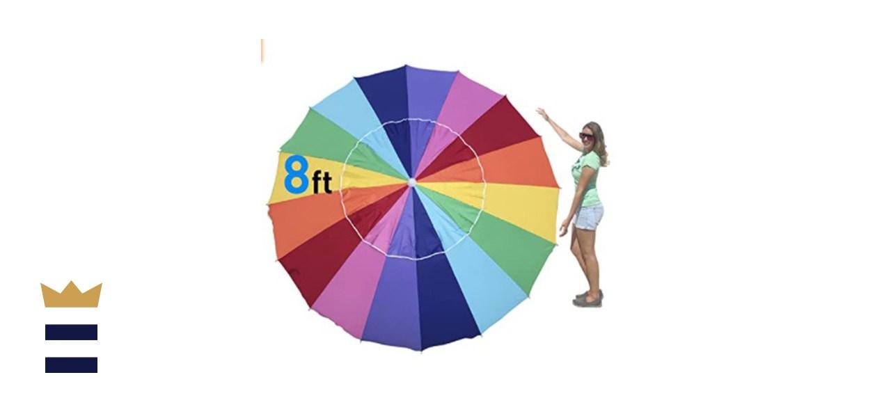 EasyGo Heavy Duty Rainbow Beach Umbrella