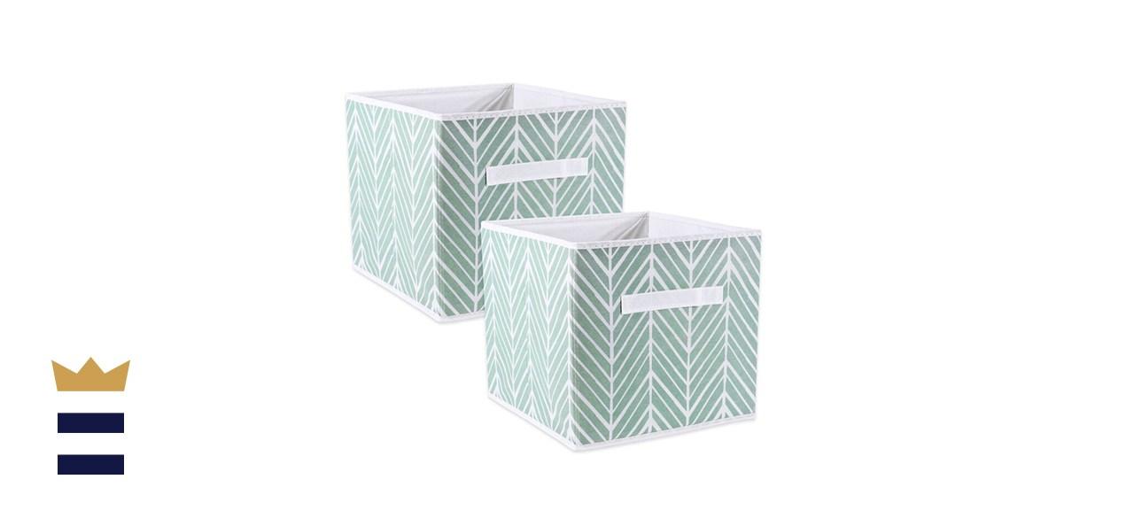 Ebern Designs Amarillis Herringbone Fabric Cube Set