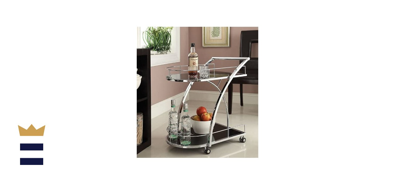 eHomeProducts Chrome Metal Bar Serving Cart