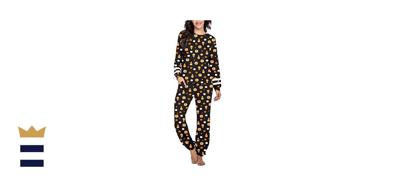 Ekouaer Long Sleeve Pajama Set with Pockets