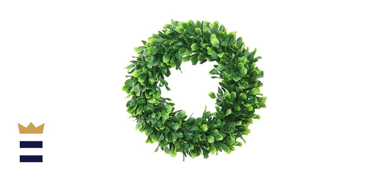 ElaDeco Faux Boxwood Wreath