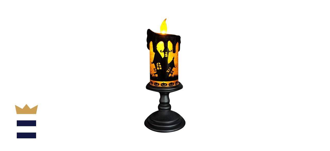 Eldnacele Halloween Snow Globe Candle Lighted Lamp