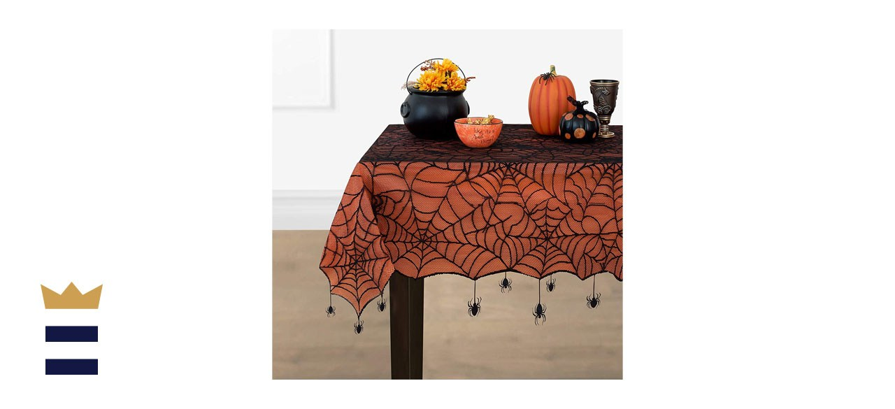 Elrene Home Fashions Crawling Halloween Spider Web Tablecloth