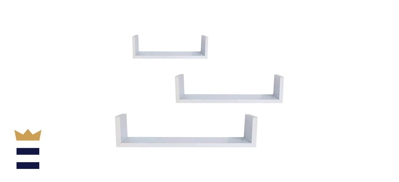 Ewei's HomeWares Floating U Shelves-White