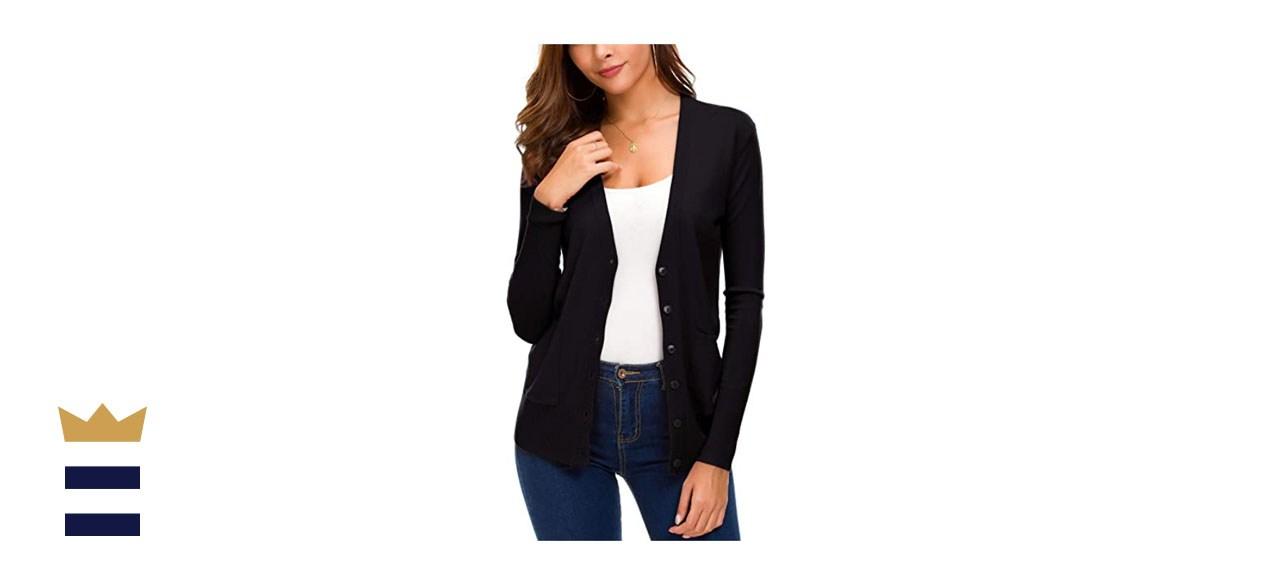 Exchic Women's Button-Down Cardigan