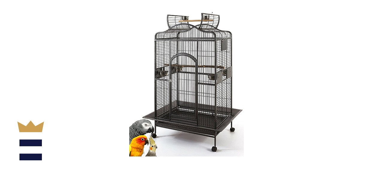 Extra-Large Wrought-Iron Open/Close Play-Top Bird Parrot Cage