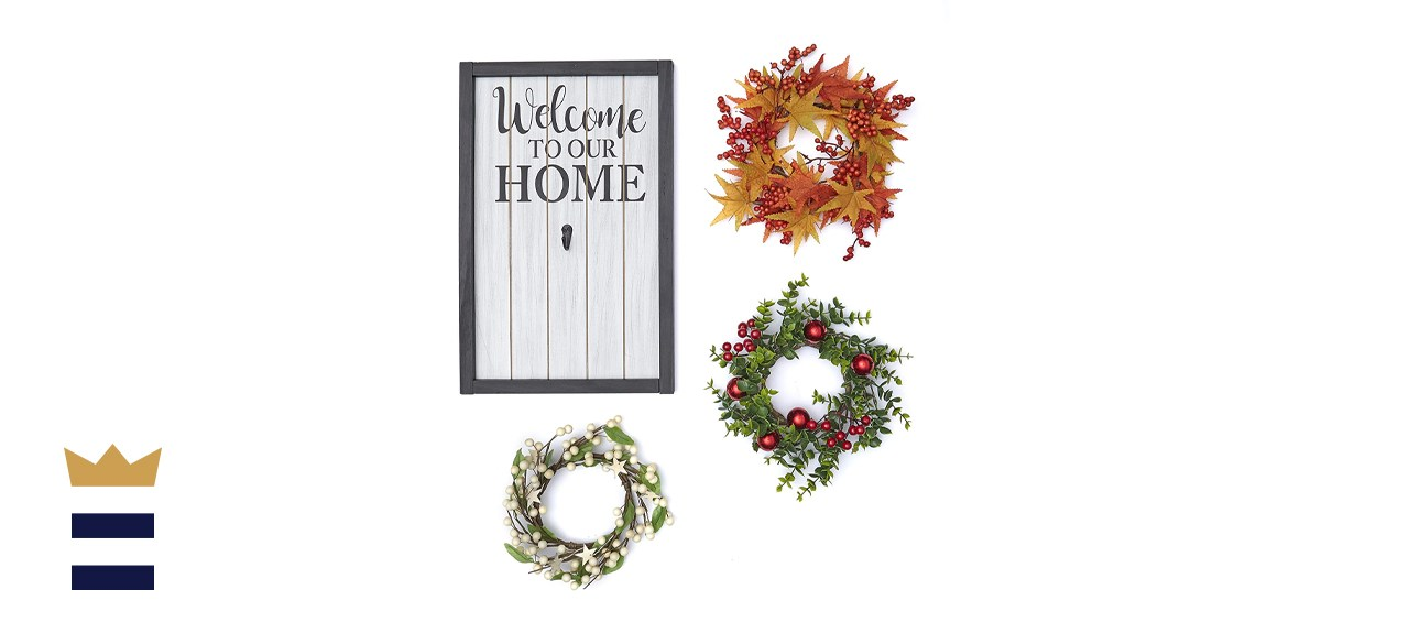 The Lakeside Collection Home Sign and Wreath Set for Fall and Holidays