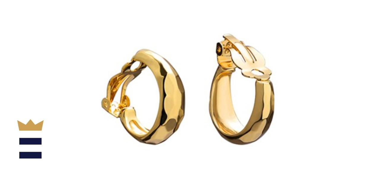 FAMARINE 14K Gold Cut Hoop Clip-on Earrings